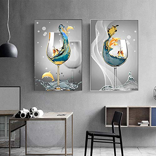 Arte abstracto moderno paisaje marino en copa de vino lienzo pintura cuadros de arte de pared para sala de estar decoración del hogar 60x90cmx2 sin marco