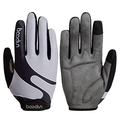 Guantes de ciclismo para hombre y mujer, con dedos completos, transpirables, para pantalla táctil, guantes MTB, con gel (plata, M)