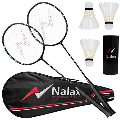 Badminton Set, 2 Player Badminton Rackets Professional Graphite High-Grade...