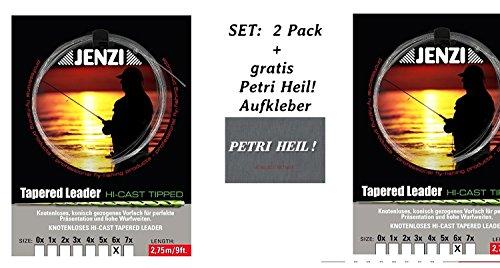 Jenzi Set: 2 Pack Tapered Leader- Fliegenvorfach 6X / 0,14/0,28 + gratis Petri Heil! Aufkleber