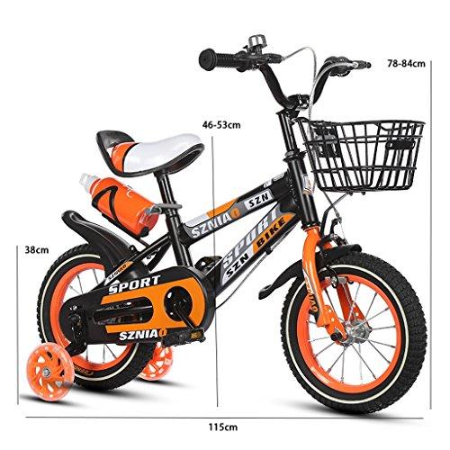 ZPWSNH kinderfiets voor 16 inch kinderwagen, mannelijk en vrouwelijk, 4-7 jaar, frame van staal met een hoog koolstofgehalte voor kinderen, oranje/blauw/rood voor kinderen (kleur: oranje)