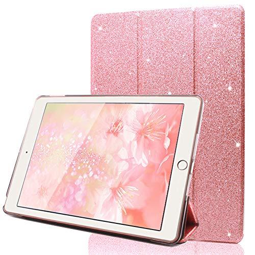 FAN SONG Glitzer Hülle für iPad 9.7 2018 2017, PU Leder Schutzhülle mit Ständer und Auto Aufwachen/Schlaf Funktion Intelligent und Ultra Dünn (Pink)