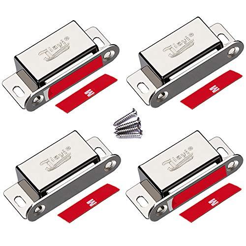 Magnetschnäpper Jiayi 4 Stück Tür Magnete für Schranktüren 6kg Magnetverschluss Schrank Türmagnete für Möbel Stark Möbelmagnete Edelstahl Türschließer Magnetschloss Metall Moebel Schrankmagnet