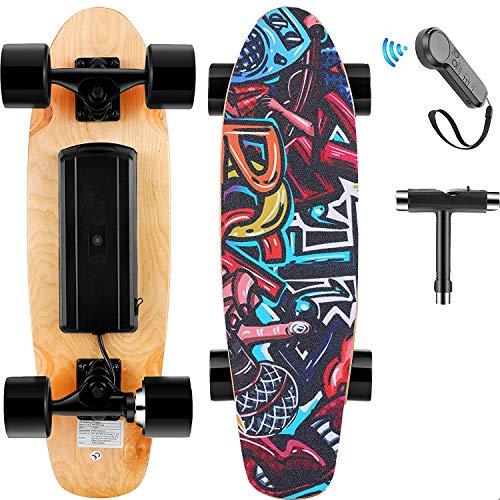 Skateboard Elettrico con Telecomando, Longboard Elettrico in Acero a 7 Strati, velocità Max 20 km/h, Motore da 350 W, Completo Skateboard Cruiser per Adulto, Ragazzo, Bambino (Nero)