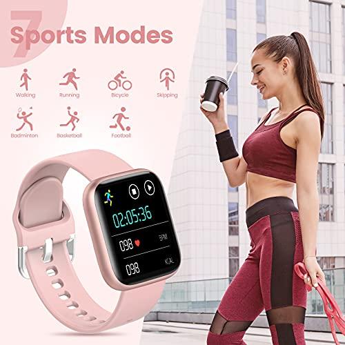 AIMIUVEI Smartwatch Mujer, Reloj Inteligente Mujer con 1.4 Inch Táctil Completa con Pulsómetro, Presión Arterial, Notificaciones Inteligentes, Podómetro, Reloj inteligente IP67 para Android iOS Rosa