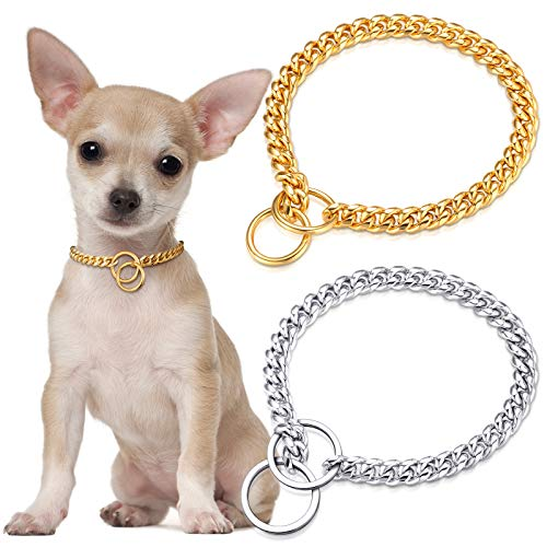 2 Pieces Gold and Silver Chain Dog Collar Polished Cuban Link Dog Choke Chain 10 mm 16 Inch Dog Training Collar for Small Medium Large Dogs Walking Outdoors