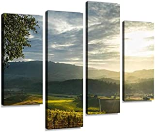 Sunrays Shine on Patchwork Sonoma Vineyard and Mountains at Sunset Canvas Wall Art Hanging Paintings Modern Artwork Abstract Picture Prints Home Decoration Gift Unique Designed Framed 4 Panel