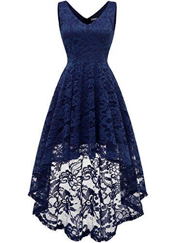 MuaDress 6666 Damen Kleid Ärmellose Cocktailkleider Knielang Abendkleider Elegant Spitzenkleid V-Ausschnitt Asymmetrisches Brautjungfernkleid Marineblau L