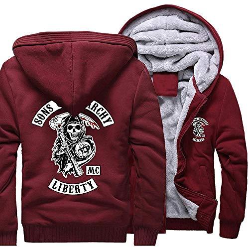 Jacket Herren-Jacke Sweater - Sons of Anarchy Druck Beiläufige Winter-Zip Kapu Stitching Langarm-Sweatshirt Warm Coat Red-XXXXL