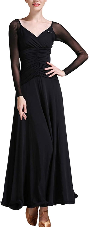 Zhhlinyuan Womens Waltz Modern Dance Dress  VNeck Latin Ballroom Dancing Dresses