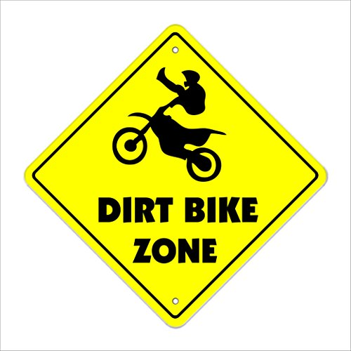 "Dirt Bike Crossing Sign Zone Xing | Indoor/Outdoor | 14"" Tall Jump Berm Tires Trail Ride"