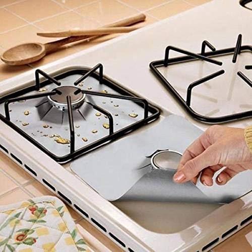 Gas kookplaat beschermer, thuis herbruikbare gasfornuis kookplaat kookplaat beschermer voering hoes voor het schoonmaken van keukengereedschap, zilver, 4 stuks