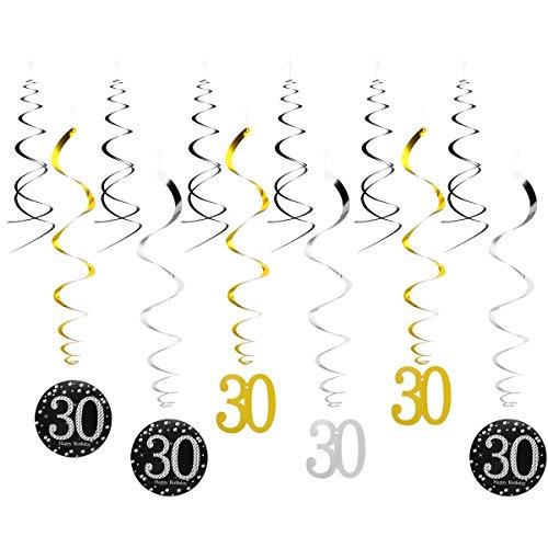 LUOEM Décoration Anniversaire 30 Ans Happy Birthday Décorations à Suspendre 12 Pièces