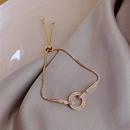 YYLSHCYHLI Handmade Bracelet Women'S Bracelet Fashion Round Crystal Bangle Party Jewelry Gift Gold