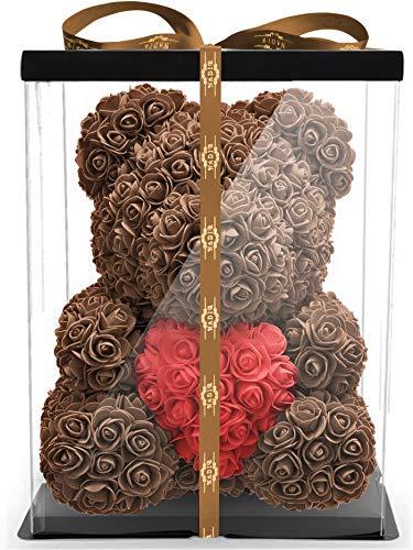 NADIR 40cm Blumenbär mit Geschenkbox Muttertagsgeschenk - Geschenk für Fre&in für Sie zum Geburtstag Jahrestag - ewige Rosen Bär Infinity Rose Bear zum Muttertag