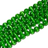 6mm Dark Green Cat Eye Beads Round Semi Precious Gemstone Loose Beads for Jewelry Making (63-66pcs/strand)