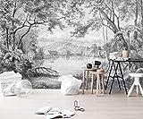 Papel Pintado 3D Líneas Dibujadas A Mano En Blanco Y Negro Selva Selva Retro Fotomurales 3D Tv Fondo Pared Murales Papel Tapiz Moderno