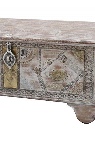 Orientalische Truhe Kiste aus Holz barthel 116cm groß | Vintage Sitzbank mit Aufbewahrung für den Flur | Aufbewahrungsbox mit Deckel im Bad | Betttruhe als Kissenbox oder Deko im Schlafzimmer - 4