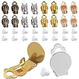 Aylifu Ohrclips Rohlinge, 24 Stück Ohrring Clip Ohrklemme mit Platte Rohlinge für 10mm Cabochons...