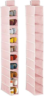 mDesign Juego de 2 Muebles zapateros Colgantes con 10 baldas Cada uno – Organizador de Zapatos para Armario – Estanterías para Zapatos, Bolsos o Carteras para Ahorrar Espacio – Rosa y Blanco