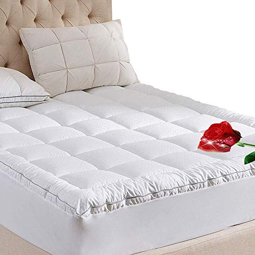 WhatsBedding Overfilled Pillow Top Mattress Pad King Size Mattress Topper King Size 100% Cotton Top Down Alternative Filling Pillowtop Mattress Topper Cover-Fitted Quilted 8-21 Inch Deep Pocket