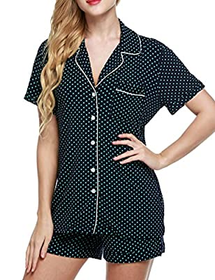 Ekouaer Short Sleeve Pj Set with Pajama Shorts with Pj Pants,Dark Blue With Green Dots,Small