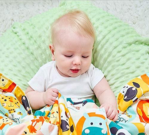 Moomerry Manta para bebé, manta para gatear, ropa de bebé con microfibra transpirable, relleno: 100% algodón y suave tela de felpa de 80 x 100 cm, para cochecito, seguridad certificada (verde)