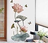 Estilo chino Lotus Flower Vinyl Wall Sticker Vintage Poster Cuarto de baño Dormitorio Decoración para el hogar Calcomanías Stikers Mural 90 * 60cm