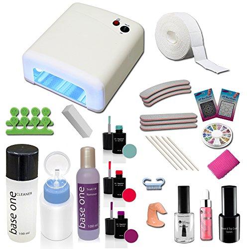 Set de gel débutant, Kit de Gel UV avec Lampe UV 36W et gels de couleur et nail art accessoires