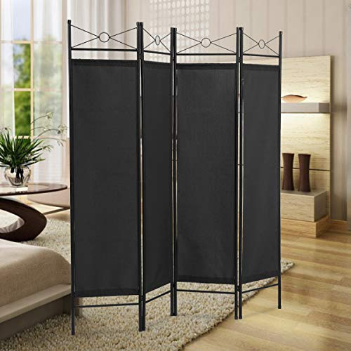 Sandinrayli 4-Panel Steel Room Divider Screen Fabric Folding Partition Home Office Privacy Screen, Escpresso (Black)