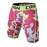 Short De Compression Homme Sports Pantalon Court Collants De Compression Shorts Sport Pantacourt Rouge L