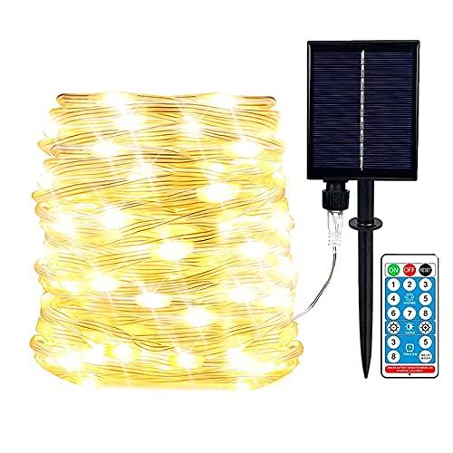 EONANT verbesserte Außenlichterkette mit Fernbedienung, 72 Fuß 200 LED wasserdichte Solarlichterkette, 8 Modi Gartenzaun Balkon Hochzeit Weihnachtsfeier Dekoration Lichter (Warmweiß)