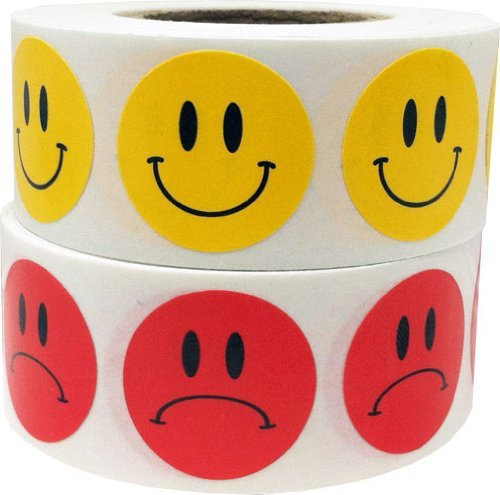 Happy Face Frowny Face Stickers Yellow Happy Red Sad Labels for Teachers 3/4 Inch Round Circle Dots 500 Stickers Per Design 1,000 Adhesive Stickers