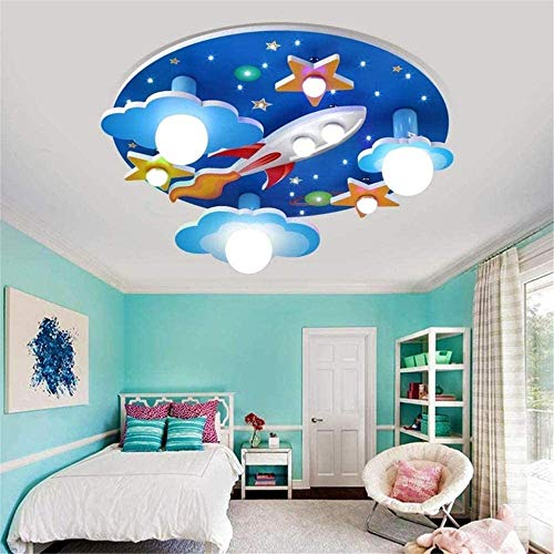 GaLon Children's Lamp LED Lamp van het Plafond / E27x3 E14x2 Gloeilampenfabriekje/Rocket Plafondlamp Children's Room Spotlight Jongen En Meisje slaapkamer plafondlamp met afstandsbediening Ø61cm