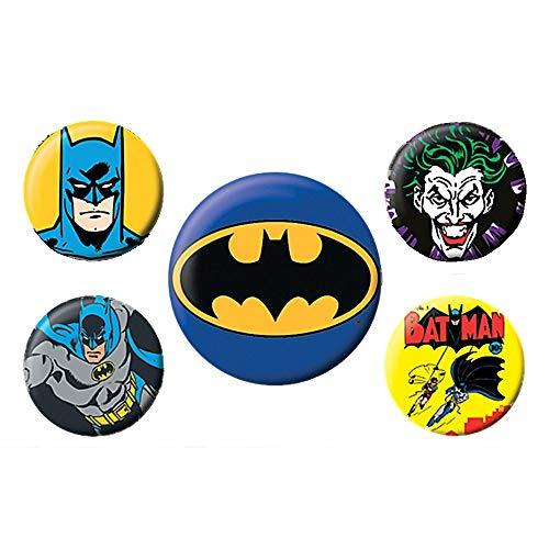 Pritties Accessories Echte DC Comics Batman 5 Stück Abzeichen Set Joker Gotham