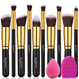 BEAKEY Ensemble de pinceaux de maquillage synthétiques de qualité supérieure pour fond de teint Kabuki pour le visage et le fard à paupières avec éponge mélangeur et œuf (10 + 2 pièces, doré)