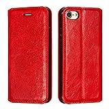 Docrax iPhone7 / iPhone8 / iPhone SE2 ケース 手帳型 スタンド機能 財布型 カードポケット マグネット アイフォン7 アイフォン8 アイフォンSE2 iPhone 7 8 / iPhone SE 2020 手帳型ケース レザーケース カバー - DOYTE020017 赤