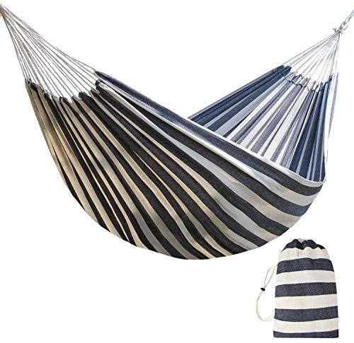 Hamaca de viaje de tamaño doble – Cama de camping para dos personas para patio, patio, porche, uso al aire libre e interior – hamacas de tela de algodón suave con bolsa de transporte portátil/mochila