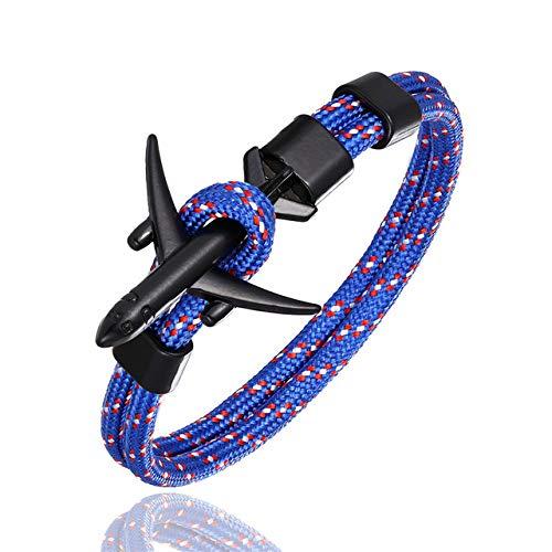 BQZB Armband Aankomst Vliegtuig Anker Armbanden Mannen Bedel Touw Chain 550 Paracord Armband Mannelijke Wrap Metalen Sport Hooks Sieraden 21cm Blauw