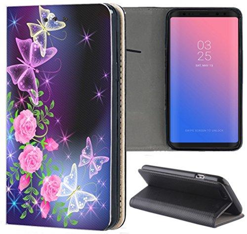 Handyhülle für Samsung Galaxy A3 2016 Premium Smart Einseitig Flipcover Flip Case Hülle Samsung A3 2016 Motiv (654 Schmetterling Blumen Lila Pink)