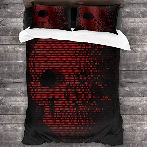 3D Juego Funda De Diseño Personalizado,Red Skull Digital Logic Zero y One Number para Virus Security Abstract Vector Design,Ropa de Cama Set 1 Edredón 2 Fundas de Almohada Microfibra jueg,135*210cm*1
