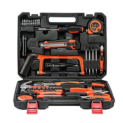 Kit de herramientas de mano, kit de herramientas de mano para el hogar de bricolaje Juego de herramientas de hardware con estuche de almacenamiento Caja de herramientas de alta resistencia para jardín