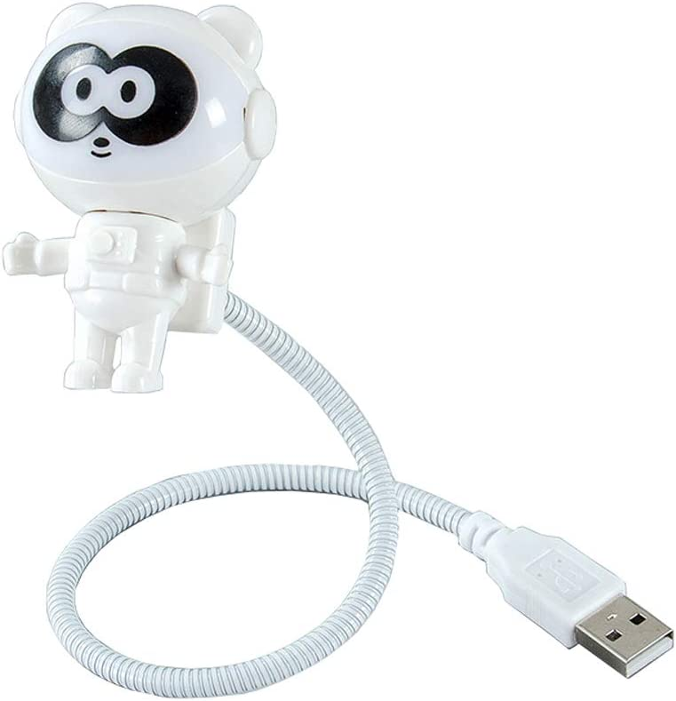 CHIYOU Creative Design Energy Saving Panda Astronaut Spaceman USB LED Night Light Computer Laptop Notebook Mini Keyboard Lamp USB Charging Port Design Flexible Bendable Hose Portable (White 1pcs)