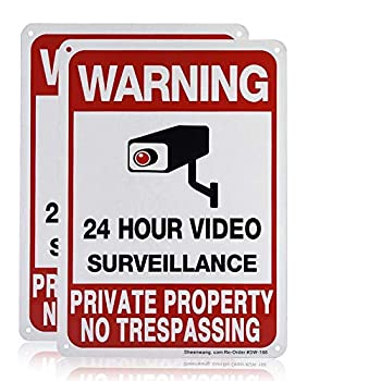 Sheenwang 2-Pack Private Property No Trespassing Sign video surveillance signs outdoor UV Printed .040 Mil Rust Free Aluminum 10 x 7 in Security camera sign for home Business Driveway Alert CCTV