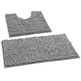 LuxUrux Bad Teppiche Luxus Chenille (2-Teilig) Badematte Set, Weiche Plüsch Anti-Rutsch-Bad Teppich + Toilettenmatte.1 '' Mikrofaser Zotteligen Teppich, Super Saugfähig |Hellgrau|Gebogener Satz