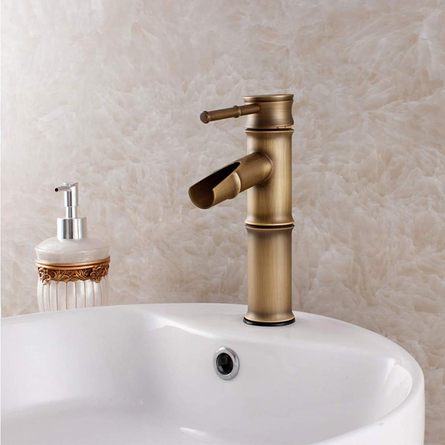 Lddpl Brass Bamboo Design Faucet Cold Hot Water Tap Single Lever Above Deck Basin Retro New 8026-2