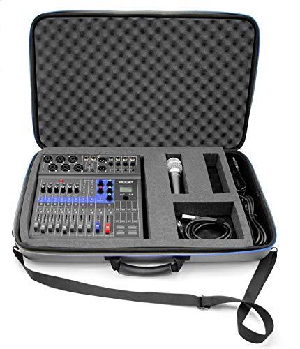 Casematix Tragbare Studiokoffer für Zoom Podcast Digital Mixer Livetrak L8 Recorder und Zubehör, inkl. Tragetasche nur mit Gurt