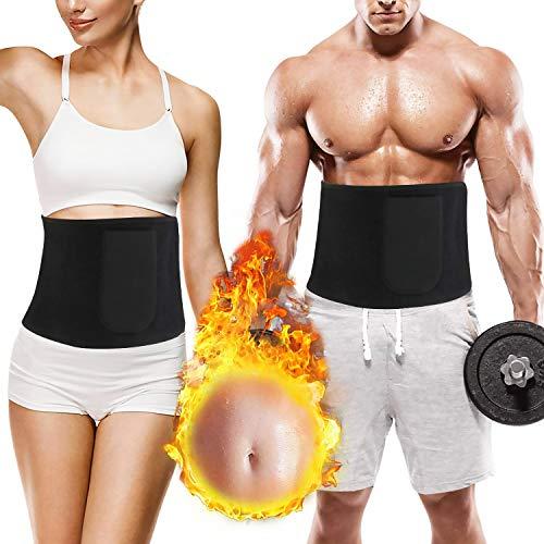 Taillen Trimmer mit Handytasche, Verstellbarer Bauchweggürtel Fitnessgürtel Waist Trimmer für Damen und Herren, Bauchgürtel, Schwitzgürtel, Bauch Fett Weg Gürtel für Sport, Fitness, Yoga, Boxing