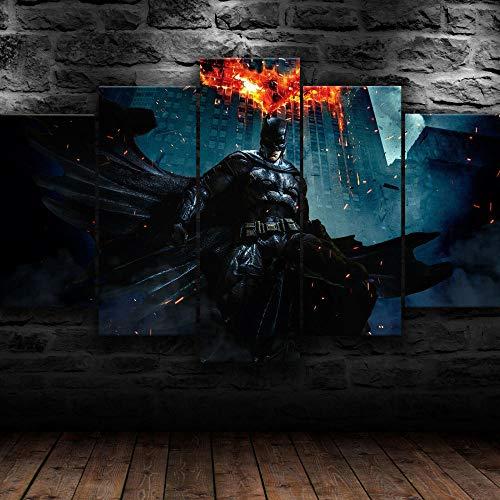 Cuadro Sobre Lienzo 5 Piezas Impresión En Lienzo Ancho: 150Cm, Altura: 100Cm Listo Para Colgar-Póster De La Película Batma Dark Knight En Un Marco