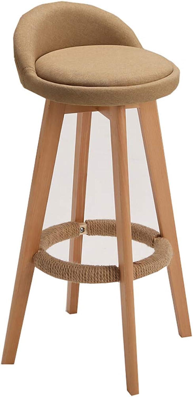 Tabouret de bar en bois massif tournant chaise de bar tabouret haut dinant la chaise tabouret de bar café dessert magasin tabouret accueil dossier en bois chaise avec coton et lin couverture 73cm